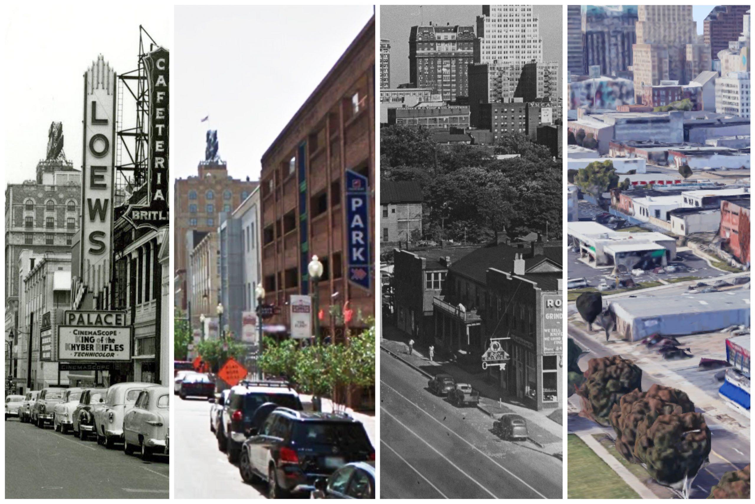 Union Avenue in 1942, circa 1950, and 2020