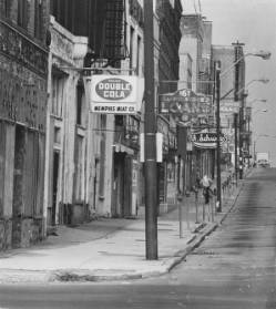 Beale Street with A. Schwab sign, 1976